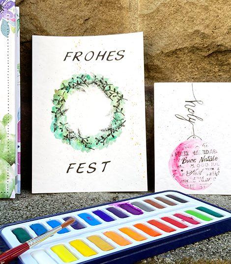 Weihnachtskarten Watercolouring Stempeln-3